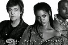 Rihanna con Paul McCartney e Kanye West per il video di <i>FourFiveSeconds</i>